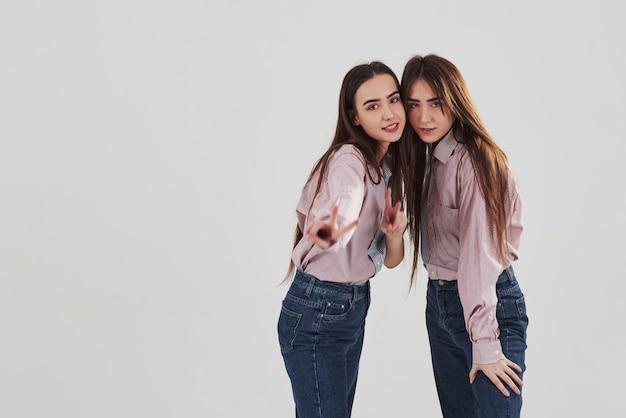 まっすぐ見てジェスチャーを見せます。 2人の姉妹の双子が立ってポーズ