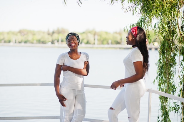 2つのスタイリッシュでトレンディなアフリカ系アメリカ人の女の子は、湖に対して白い服を着ます。若い黒人のストリートファッション。