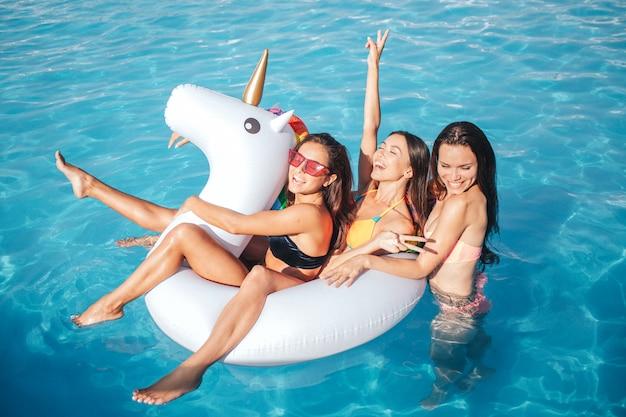 面白いとゴージャスな若い女性がプールで泳いでいます。彼らは白いフロートで遊ぶ。 2つのモデルがあります。三番目はそれらの後ろです。若いモデルは楽しい。
