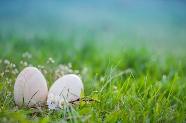 緑の草に2つの白いイースターエッグ