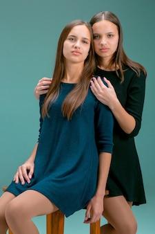 2つの美しい双子の若い女性の肖像画