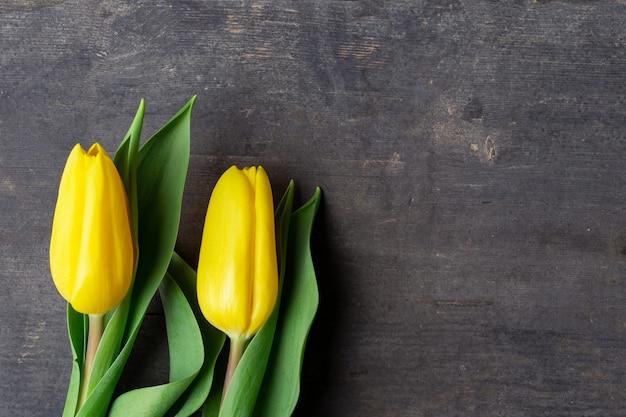 2 свежих желтых тюльпана на винтажной старой деревянной текстуре предпосылки, концепции пасхи в апреле, космосе для текста