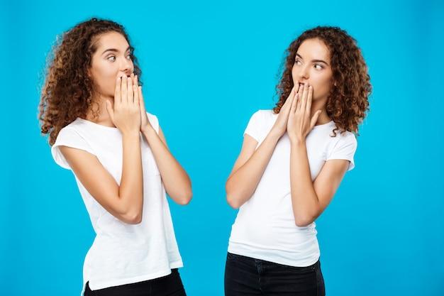 青い壁の上でお互いを見ている2人の女の子の双子を驚かせた