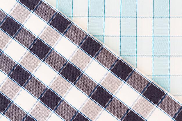 2つの異なるチェックファブリックテクスチャ対角線シームレスパターン