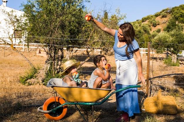 彼女の娘を見せている女性は彼女の2人の娘に赤いリンゴを食べた