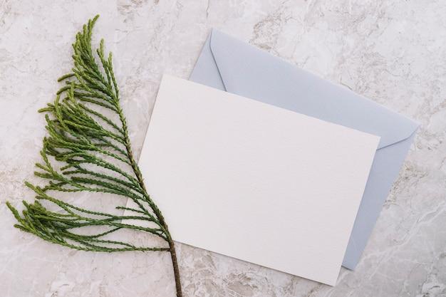 大理石の背景に2つの白と青の封筒とシダーの小枝
