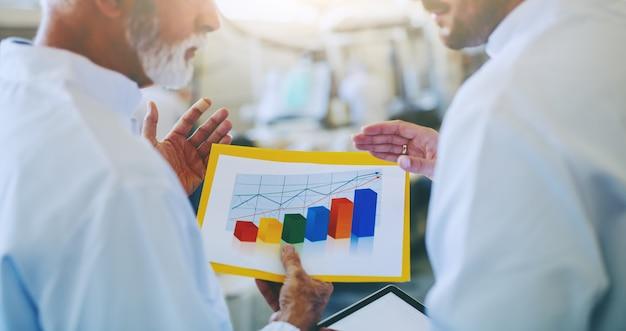 食品の販売の成長について話し合う、無菌の白い制服を着た2人のビジネスパートナーのクローズアップ。グラフの選択的な焦点。食品工場のインテリア。