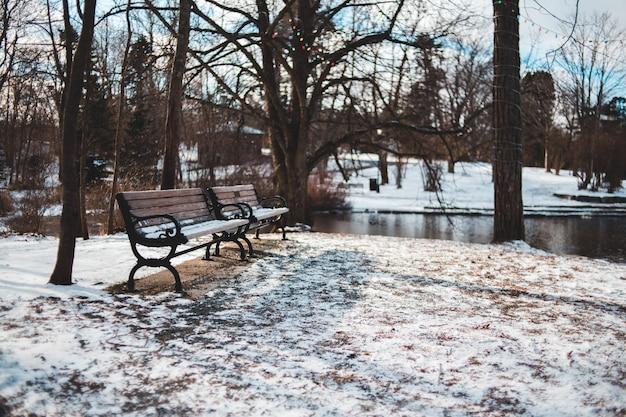 川の横にある2つの木製のベンチ