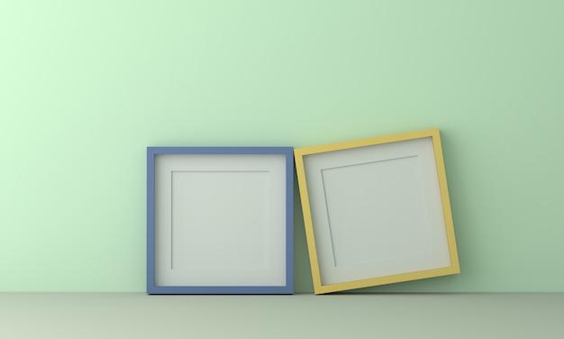 パステルライトグリーン色の壁にテキストや画像を挿入するための2つのカラフルな額縁。