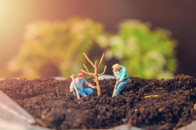 木を植えている2人の小型人物