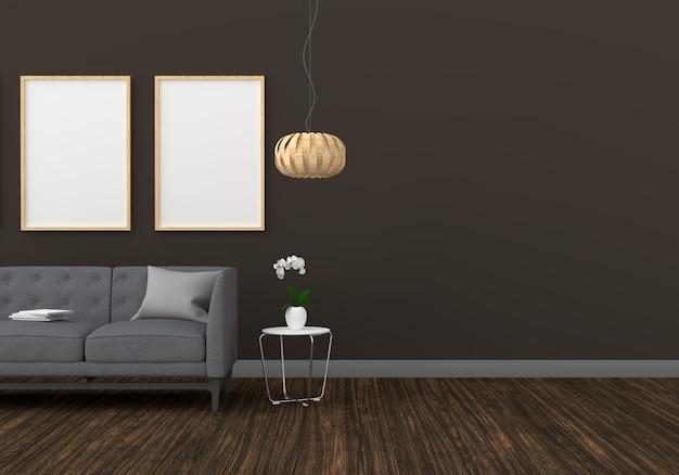 モダンなリビングルームのモックアップの空白の2つのフォトフレーム