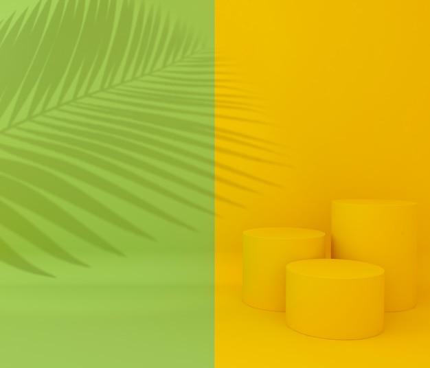 製品のプレゼンテーション、熱帯の木の影、2色のディスプレイ