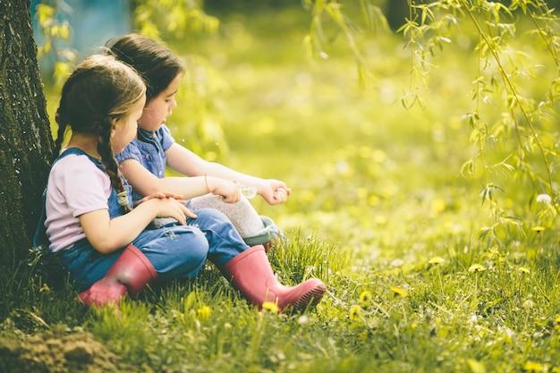 農場の小さな女の子2人
