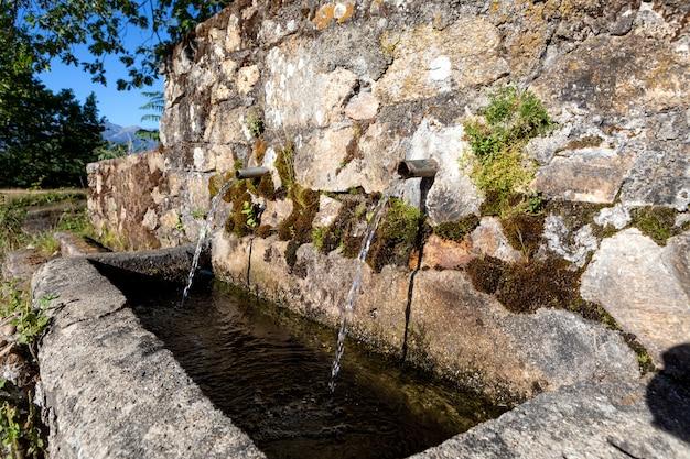 澄んだ水と2本の管の源