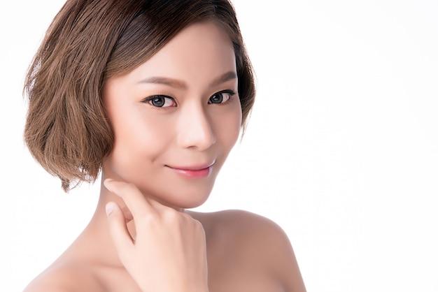 肖像画美しい若いアジア女性きれいな新鮮な素肌の概念。アジアの女の子の美しさの顔のスキンケアと健康、フェイシャルトリートメント、完璧な肌、自然化粧、2