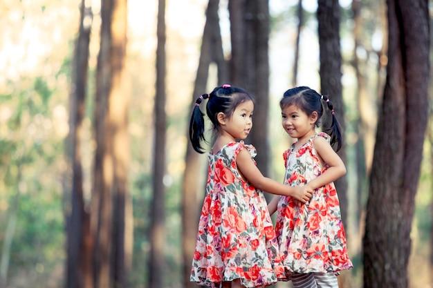 ビンテージカラーフィルターで松の木公園で一緒に遊ぶのが楽しい2人のアジアの少女