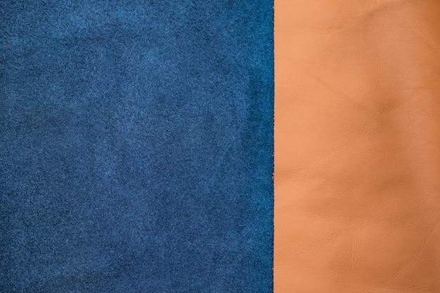 閉じる紺色と黄色の革を2つのセクション、テクスチャの背景を分割する