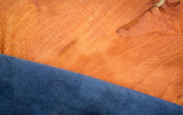 オレンジのラフエッジとネイビーブルーの革を2つのセクションに分けて閉じる