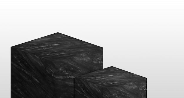 黒い光沢のある大理石で作られた2段階の製品陳列台