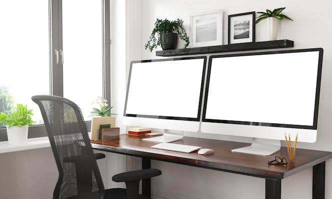2つの空白の画面を持つ黒と白のデスクトップ