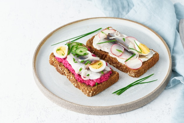 風味豊かなスモレブロ、2つの伝統的なデンマークのサンドイッチ。アンチョビ、ビートルートと黒ライ麦パン
