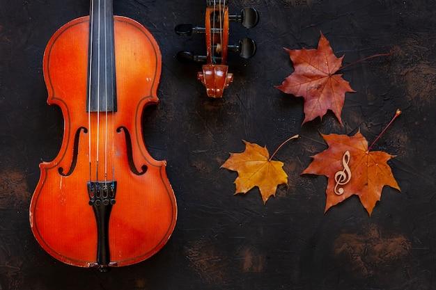 黄色の秋のカエデの2つの古いバイオリンを残します。