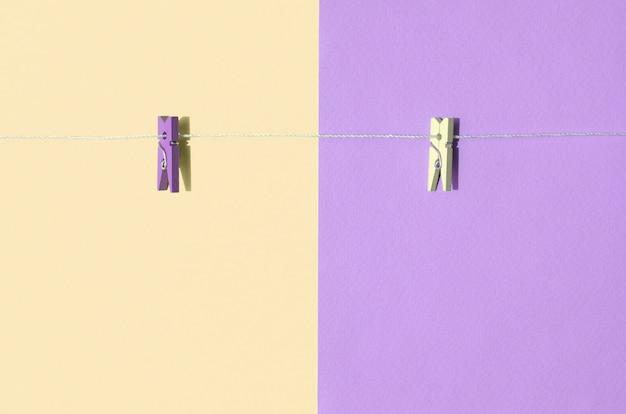 2色の木製ペグと小さなロープ