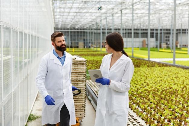実験室服の2人の研究者が温室の周りをタブレットで歩いている