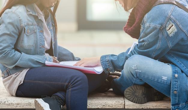 2人の若い女性がベンチで勉強します。
