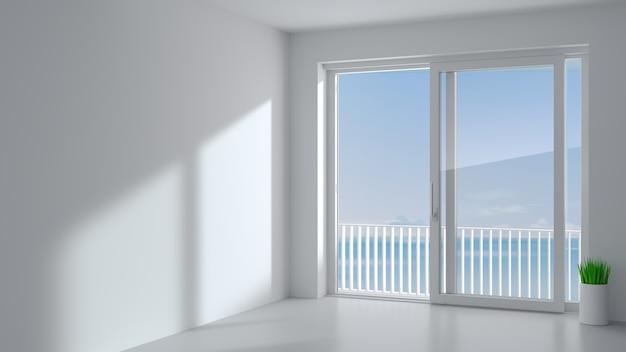 2つの白いシャッター付きのスライド式外装ドア。パノラマの窓とテラスがあります。