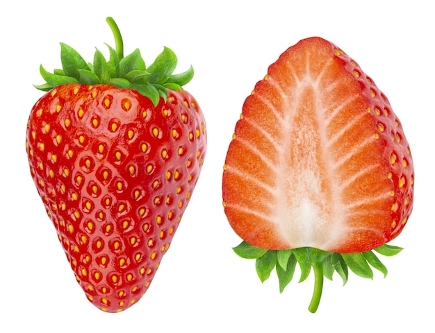 分離された2つのイチゴ
