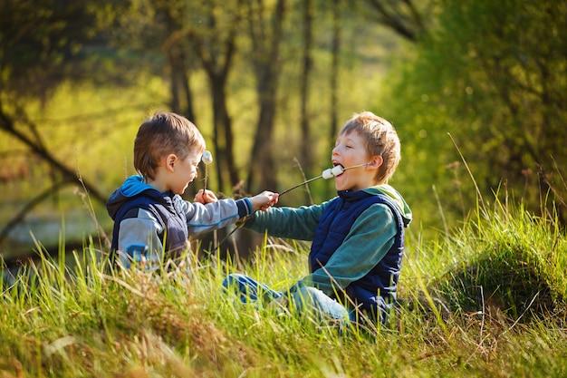 2人の男の子が棒を持ってローストマシュマロを食べる準備ができて