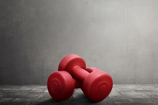2つの赤いダンベル機器