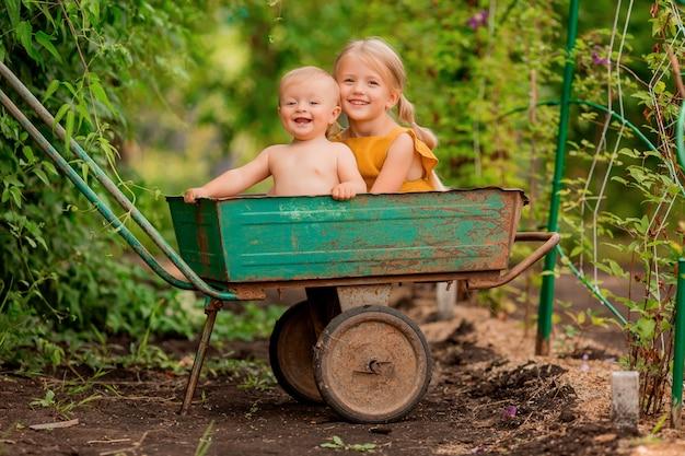 2つの小さな子供の女の子と笑みを浮かべて座っている庭の手押し車で国の少年