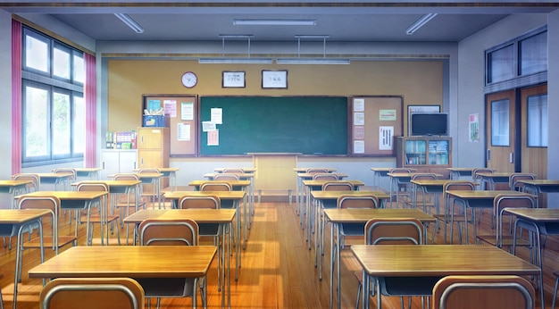 2d illustration of classroom in the daytime.