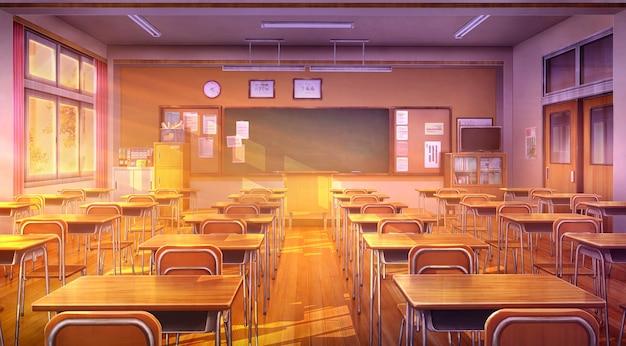 2d иллюстрация класса в вечернее время.