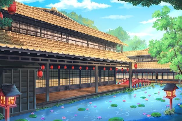 낮에 판타지 전통 일본 가옥의 2d 일러스트.