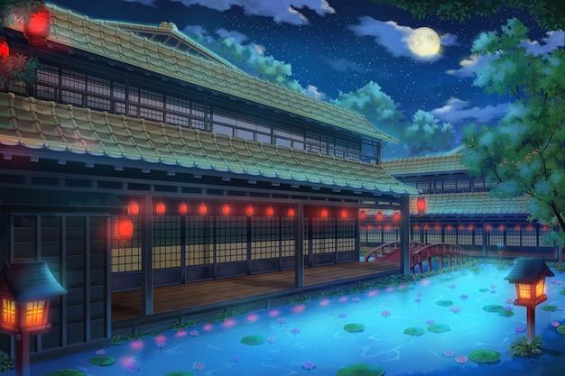 야간 판타지 전통 일본 가옥의 2d 일러스트.