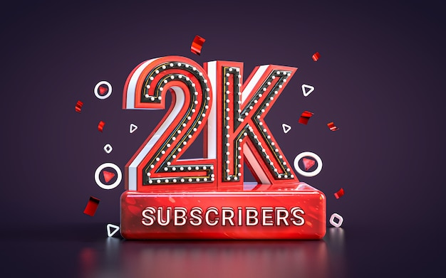 Празднование 2k подписчиков две тысячи подписчиков поздравительная открытка в соцсетях 3d визуализация
