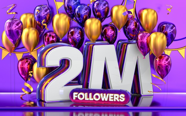 2m followers celebration thank you social media banner with purple and gold balloon 3d rendering