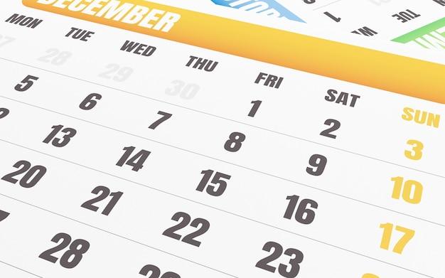 3月12日のカレンダーのクローズアップ