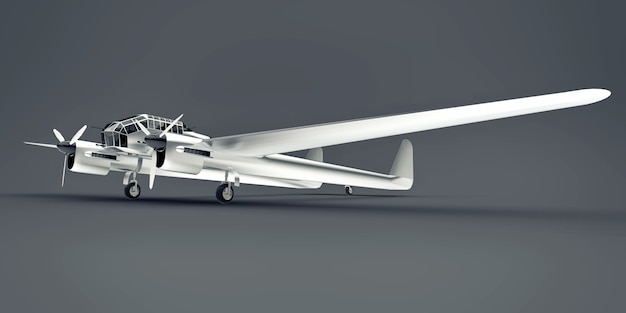 第二次世界大戦の爆撃機の3次元モデル。 2つの尾と広い翼を持つ光沢のあるアルミニウムボディ。灰色の表面に光沢のある飛行機。