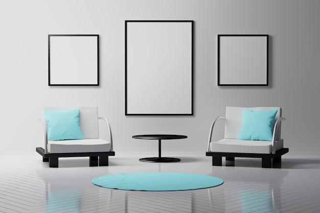 3つの額縁、コーヒーテーブル、2つの椅子のある部屋のインテリア