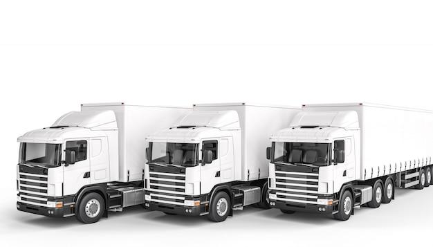 3つの白いトラックの3 dレンダリング画像。誰もいない。