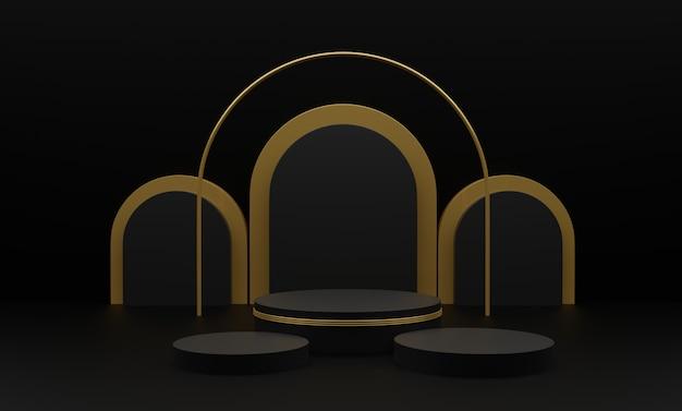 幾何学的な3つの形状を持つ3 dレンダリングされた図。製品プレゼンテーション用の金シリンダー表彰台プラットフォーム。モダンなスタイルの抽象的な構成。