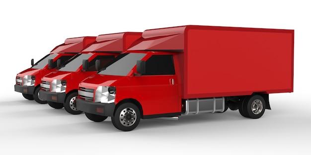 3つの小さな赤いトラック..車の配達サービス。小売店への商品および製品の配送。 3dレンダリング。