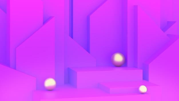 高さの異なる3つの豪華な紫色の表彰台。 3dレンダー