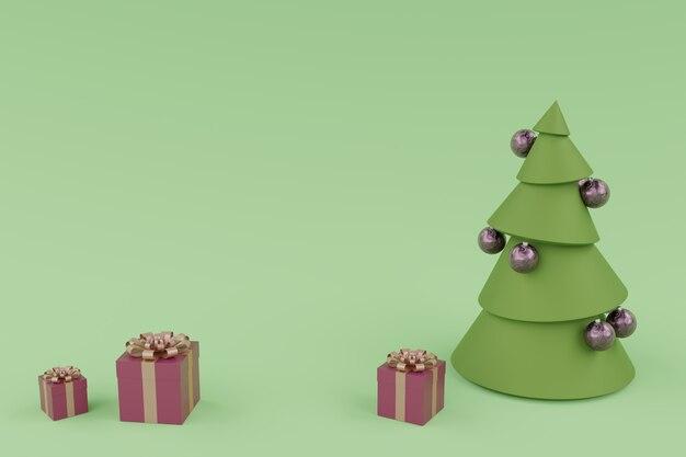 クリスマスツリーの装飾と3つのギフトブルーボックス、最小限の創造的な概念。 3dレンダリングされた水平合成。