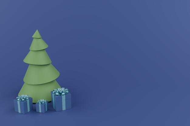 クリスマスツリーと青色の背景、最小限の創造的な概念を持つ3つの青いギフトボックス。 3dレンダリングされた水平合成。