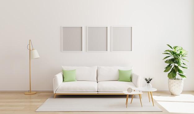 モダンなインテリアの3つのポスターフレームのモックアップ。スカンジナビアスタイル、明るく居心地の良いリビングルームのインテリア。白い壁のリビングルームとコントラスト枕付きのソファ。 3dレンダー
